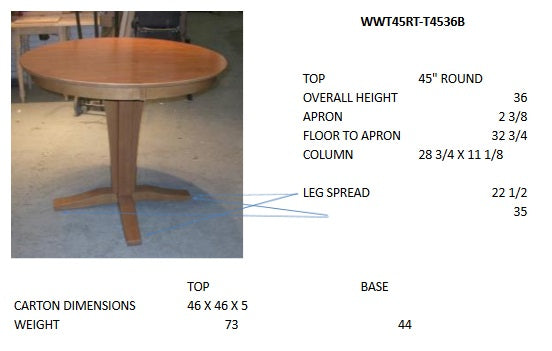 "Verona Round Hardwood Table - 45"" (Choose Height)"