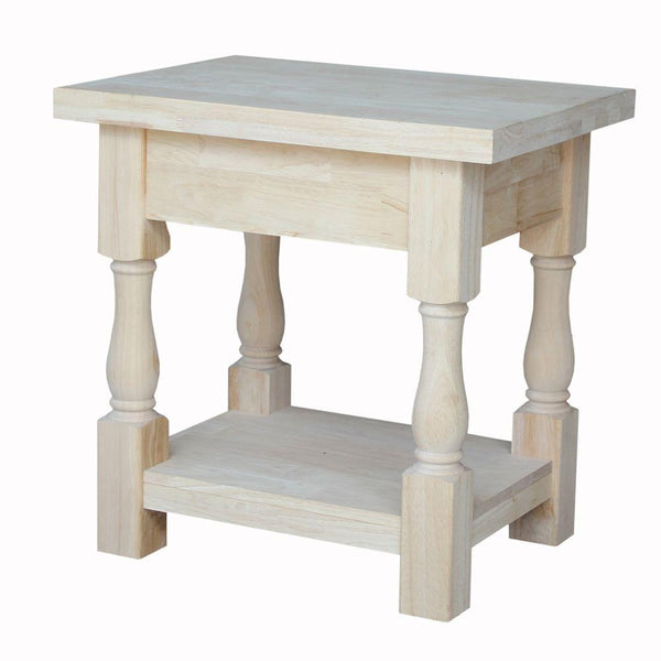 Tuscan Unfinished Hardwood End Table