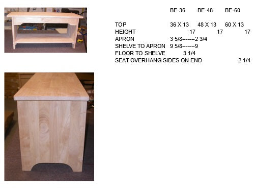 "Brookstone Hardwood Bench - 48"" - UnfinishedFurnitureExpo"