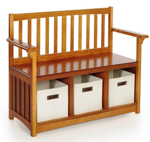 Beau Unfinished Furniture Expo Mission Storage Bench With Bins   Walnut Finish