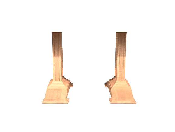 Hardwood Trestle Pedestal Pair