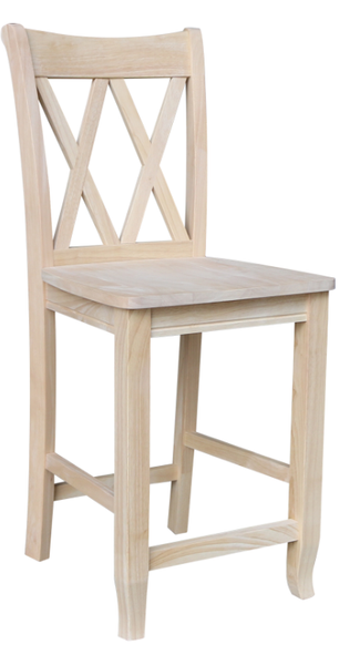 Hardwood Double X-Back Counterstool