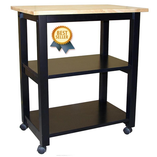 Microwave Cart (Black & Natural) - 26""