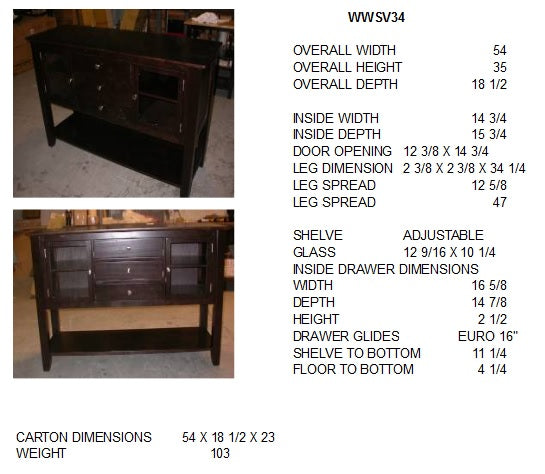 "Cosmopolitan Server/Huntboard - 54"" (Finish Options) - UnfinishedFurnitureExpo"
