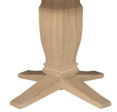 "Solid Hardwood 42"" Round Dining Table (Choose Pedestal) - UnfinishedFurnitureExpo"