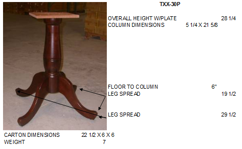 "5"" Hardwood Turned Dining Table Pedestal Base (Height & Finish Options) - UnfinishedFurnitureExpo"