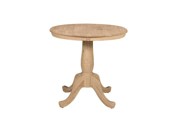 Traditional Round Solid Hardwood Table (Choose Diameter & Height) - UnfinishedFurnitureExpo