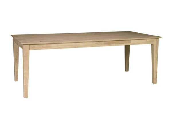 "Hardwood Solid Top Shaker Table - 84"" - UnfinishedFurnitureExpo"