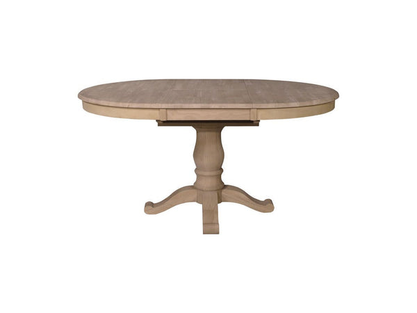 "42"" Round Hardwood Dining Table with 18"" Butterfly Leaf (Choose Pedestal) - UnfinishedFurnitureExpo"