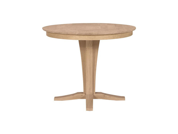 Delightful Unfinished Furniture Expo Counter Height Round Solid Top Hardwood Table