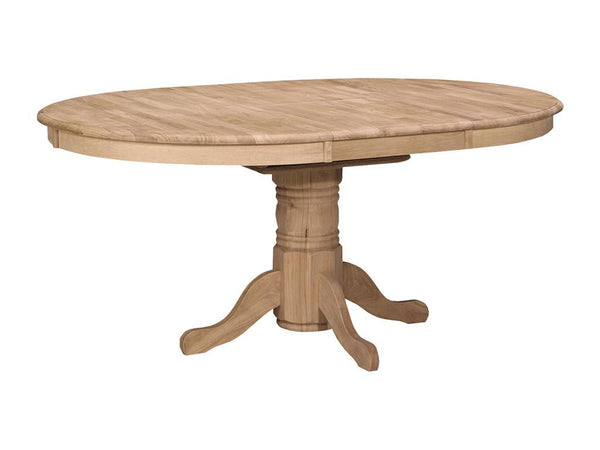 "Round Hardwood Table with Butterfly Leaf - 48"" (Choose Pedestal) - UnfinishedFurnitureExpo"