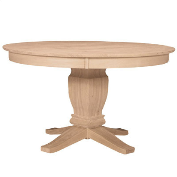"52"" Round Solid Top Dining Table (Choose Pedestal) - UnfinishedFurnitureExpo"