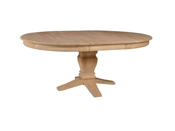 "Hardwood Butterfly Leaf Pedestal Table - 54"" - UnfinishedFurnitureExpo"