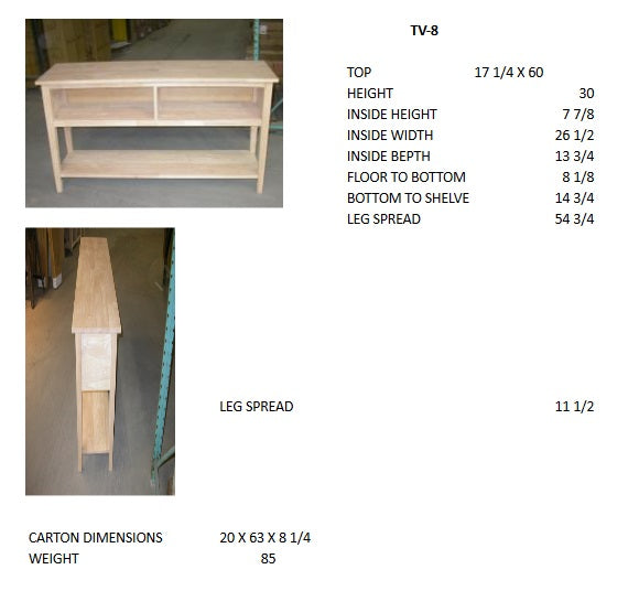 "Unfinished Hardwood TV Console - 60"" Wide"