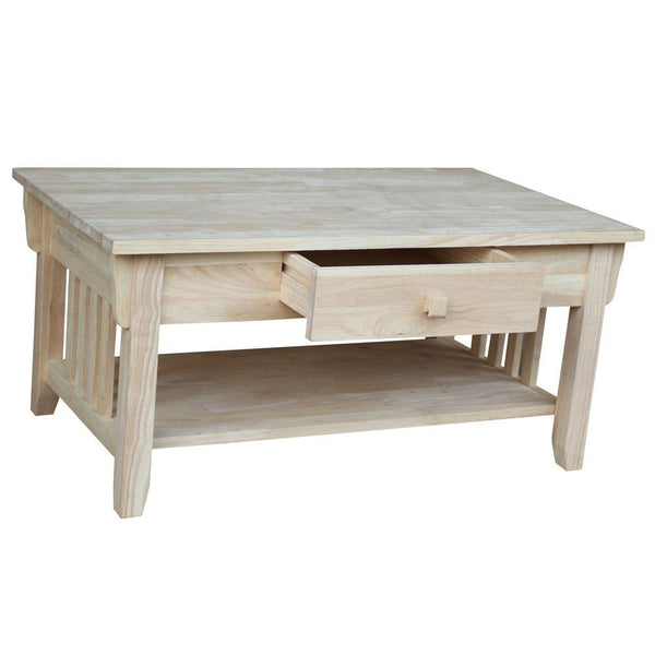 "Hardwood Mission Coffee Table - 38"" - UnfinishedFurnitureExpo"