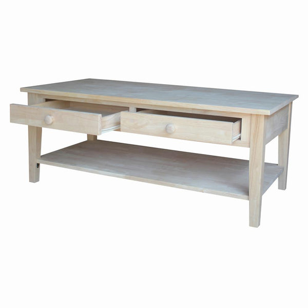 Spencer Hardwood Coffee Table with Drawers & Shelf - 48""