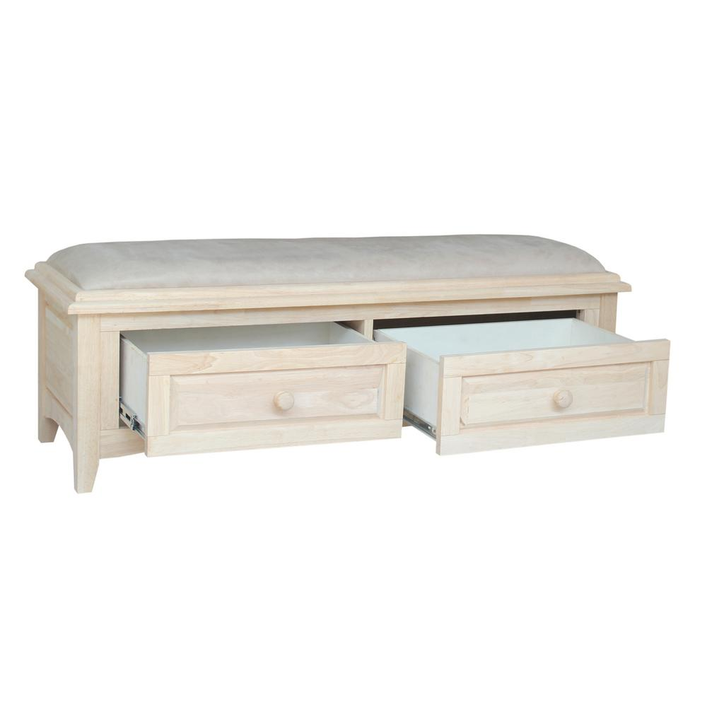 Unfinished Solid Hardwood Bedside Bench Free Shipping