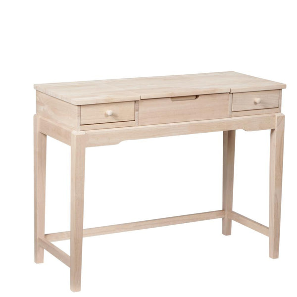 "Hardwood Deluxe Vanity Desk - 40"" (Finished Options) - UnfinishedFurnitureExpo"