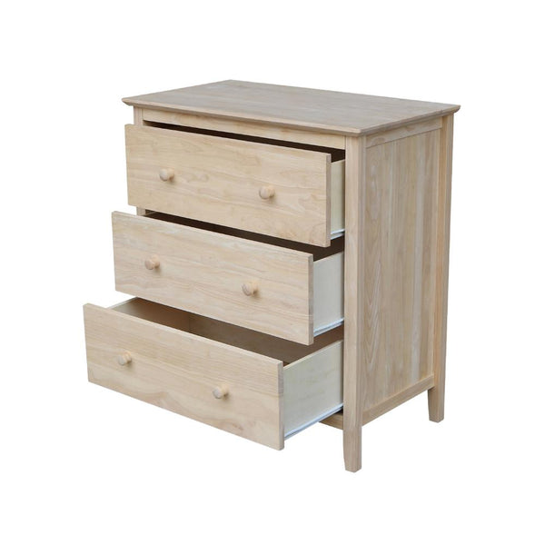 "Brooklyn Hardwood 3-Drawer Chest - 30"" - UnfinishedFurnitureExpo"