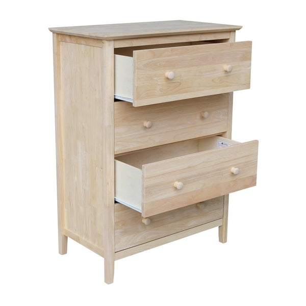"Brooklyn Hardwood 4-Drawer Chest - 30"" - UnfinishedFurnitureExpo"