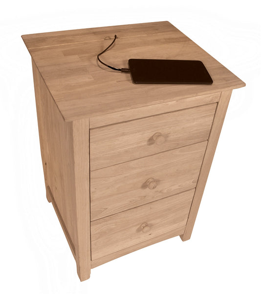 Shaker 3 Drawer Hideaway Nightstand - UnfinishedFurnitureExpo