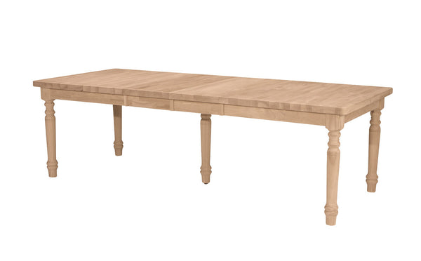 "Canyon Farmhouse Hardwood Extension Table - 96"" (Style & Finish Options) - UnfinishedFurnitureExpo"
