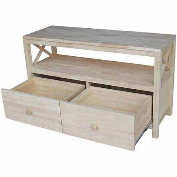 "Hampton X-Side Hardwood Entertainment and TV Stand - 44"" - UnfinishedFurnitureExpo"