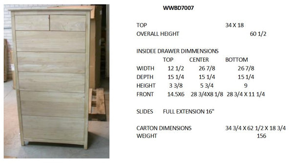 Shaker 7 Drawer Chest of Drawers - 32""