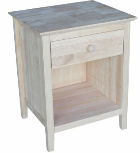 Hardwood 1-Drawer Night Stand - UnfinishedFurnitureExpo