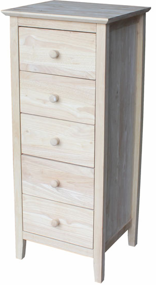 Brooklyn Hardwood 5-Drawer Lingerie Chest - UnfinishedFurnitureExpo