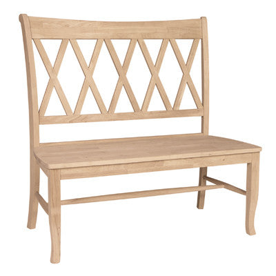 "Hardwood Double-X Back Bench - 42"" - UnfinishedFurnitureExpo"