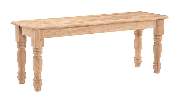 "Solid Hardwood Farm House Bench - 47"" - UnfinishedFurnitureExpo"