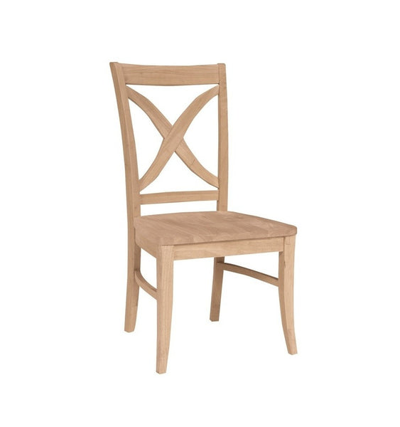 Unfinished Furniture Expo Vineyard Curved X Back Hardwood Chair