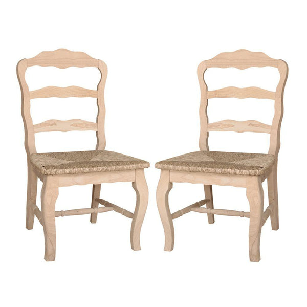 Versailles Hardwood Chair with Rush Seat - 2 Pack - UnfinishedFurnitureExpo