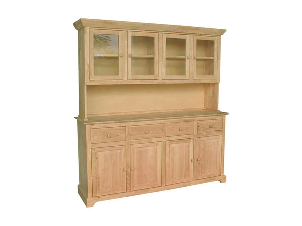 "4 Door Hardwood Hutch - 70"" - UnfinishedFurnitureExpo"