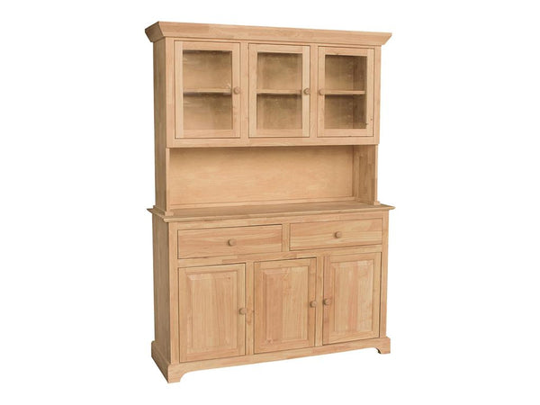 "3 Door Hardwood Hutch - 54"" - UnfinishedFurnitureExpo"