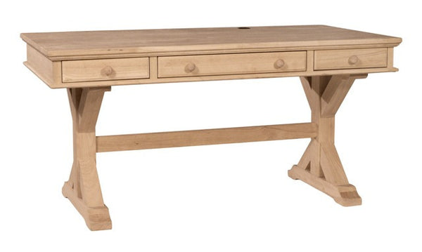 "Canyon Executive Hardwood Desk with X Base - 60"" (Finish Options) - UnfinishedFurnitureExpo"