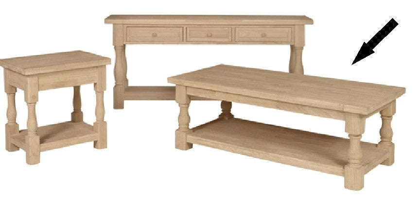 ... Unfinished Furniture Expo Tuscan Unfinished Hardwood Coffee Table - Tuscan Hardwood Coffee Table - Free Shipping (OT-17C