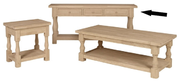 Tuscan Unfinished Hardwood Sofa Table with Drawers