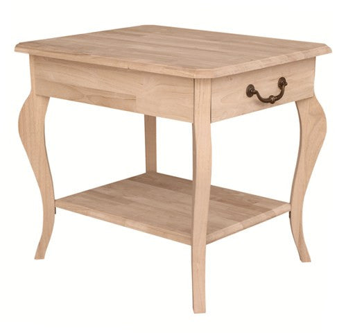 Cambria Rectangular Hardwood End Table - UnfinishedFurnitureExpo