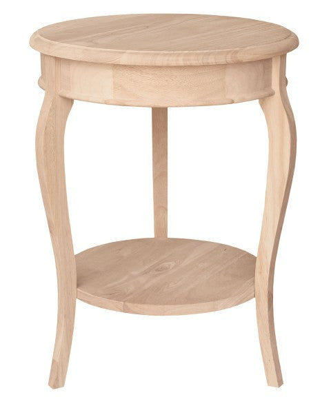 "Cambria Unfnished Hardwood Side/Accent Table - 18"" Diameter - UnfinishedFurnitureExpo"