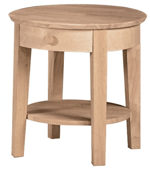 """Phillips"" Unfinished Round End Table with Drawer - UnfinishedFurnitureExpo"