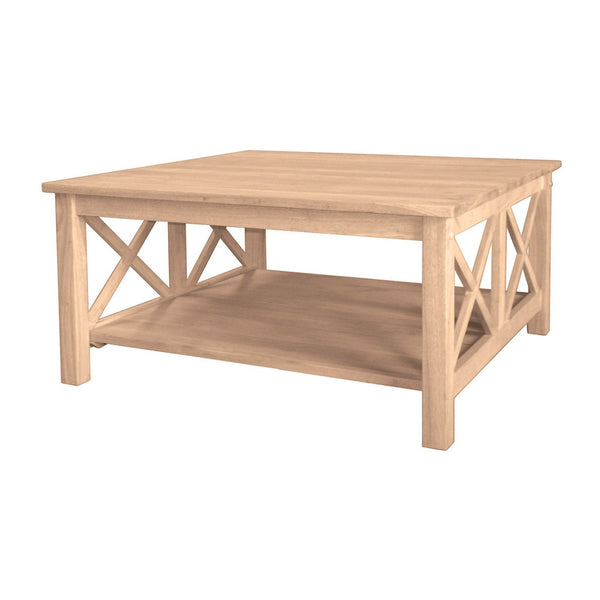 "Hampton Square Hardwood Coffee Table - 36"" (Finished Options) - UnfinishedFurnitureExpo"