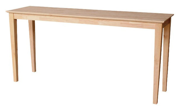 "Hardwood Shaker Sofa Table - 60"" Wide - UnfinishedFurnitureExpo"
