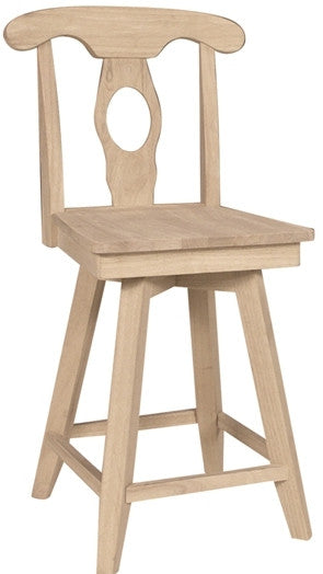 Empire Unfinished Swivel Counterstool (Finish Option) - UnfinishedFurnitureExpo