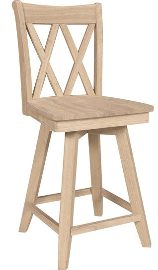 Unfinished Furniture Expo Double X-Back Hardwood Barstool