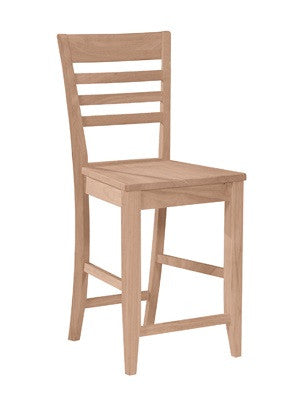 Roma Ladderback Hardwood Bar Height Stool - UnfinishedFurnitureExpo