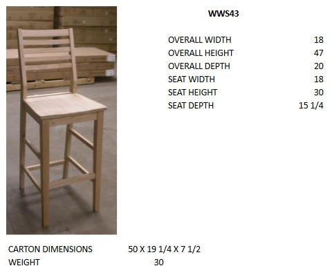 "Aspen 30"" Slatback Bar Stool - UnfinishedFurnitureExpo"