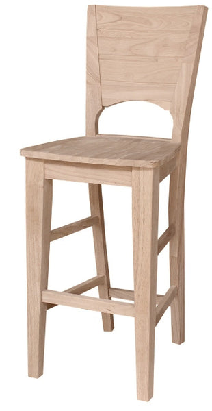 """Canyon"" Unfinished Hardwood Barstool - UnfinishedFurnitureExpo"