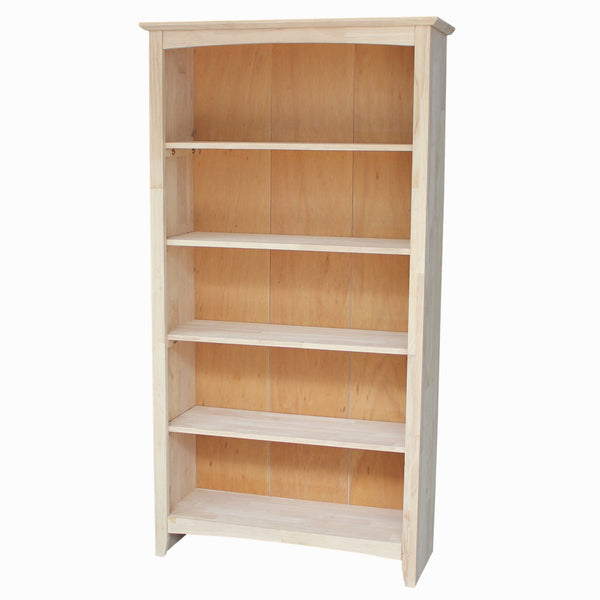 "Shaker Bookcase 32"" Wide x 60"" Tall (Finish Options) - UnfinishedFurnitureExpo"